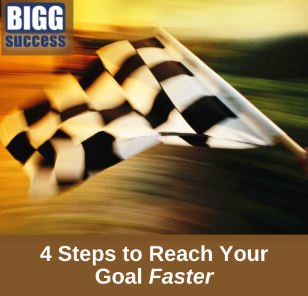 inage of a checkered flag with the blog post title: 4 Steps to Reach Your Goal Faster