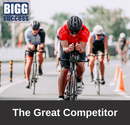 image of a competitive bike race with the blog title The Great Competitor