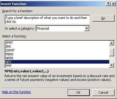 Microsoft Excel insert formula command screen shot