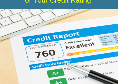 Image of a credit score with the blog post title: The 5 Components of Your Credit Rating