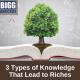 image of a book and a tree with the blog post title 3 Types of Knowledge That Lead to Riches