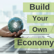 image of person holding a globe with the blog title build your own economy