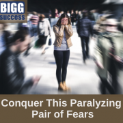 image of woman who looks afraid with the blog post title Conquer This Paralyzing Pair of Fears
