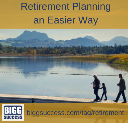family walks along a long dock on a lake with the blog title: Retirement Planning an Easier Way