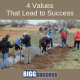 image of people volunteering, along with the title of the blog post: 4 Values That Lead to Success