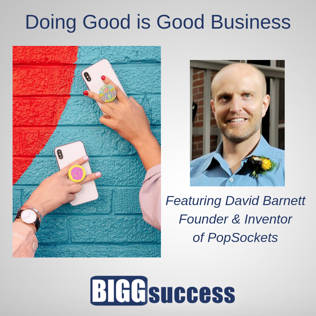 Picture of David Barnett and an image of his invention, PopSockets