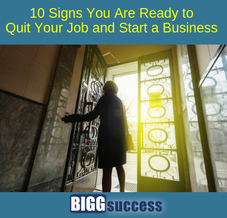 Image of person leaving building with blog post title: 10 signs quit job start business