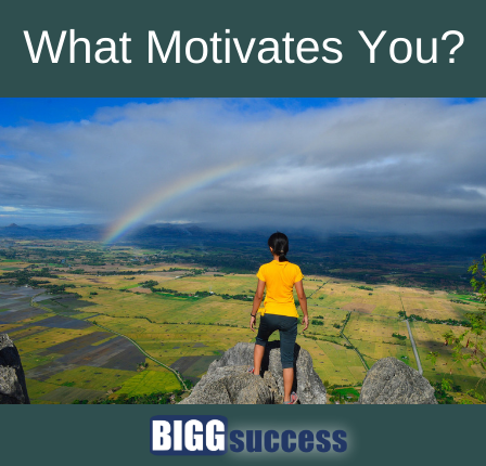 person overlooks landscape and rainbow with title of blog post: What Motivates You?