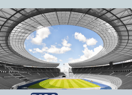 image of arena with open roof showing clouds and the blog title: Your Arena of Service