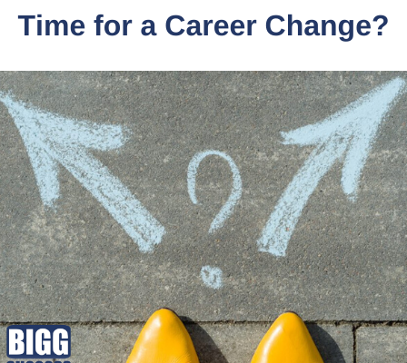 image of two arrows and a question mark with blog title Time for a Career Change