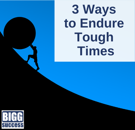 Man rolling large wheel uphill with the blog title 2 ways to endure tough times