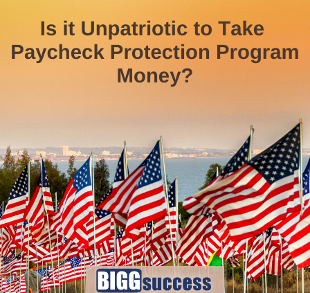 image of flags with the question is it unpatriotic to take paycheck protection program money?