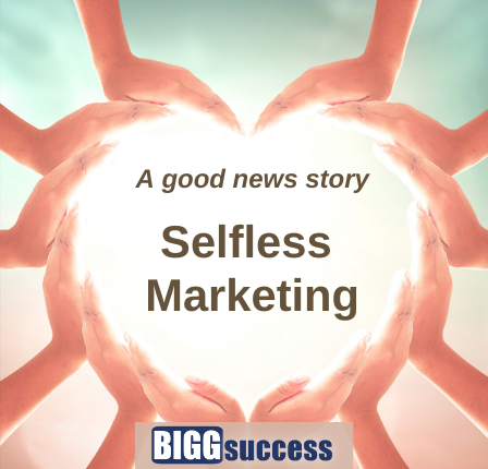 hand form a heart with the blog post title Selfless Marketing
