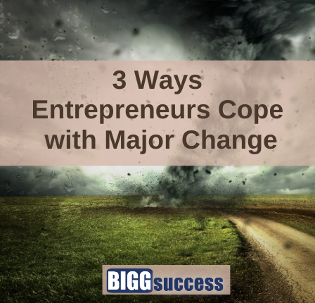 image of cyclone with blog post title: 3 Ways Entrepreneurs Cope with Major Change