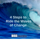 image of large wave with blog title: 4 steps to ride the waves of change