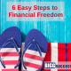 image of sandals in red white and blue with title 6 easy stesp to financial freedom