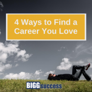 image of man dreaming on grass with blog title 4 ways to find a career you love