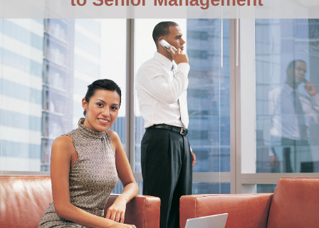 image of people in an executive suite with title: Get promoted to senior management