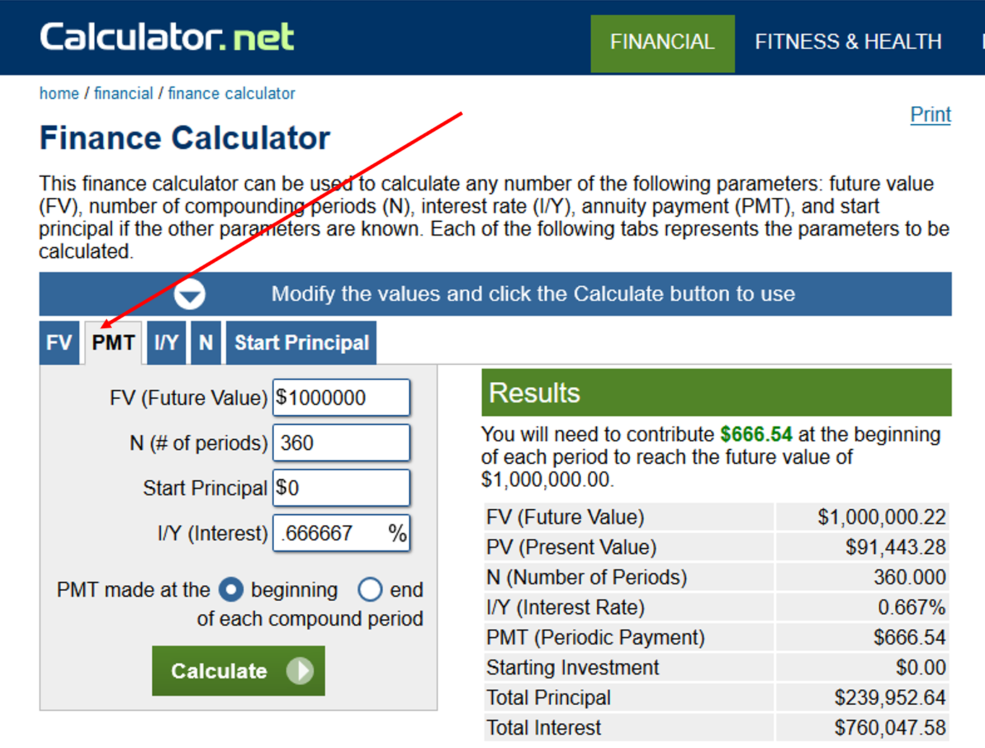 Finance Calculator PMT