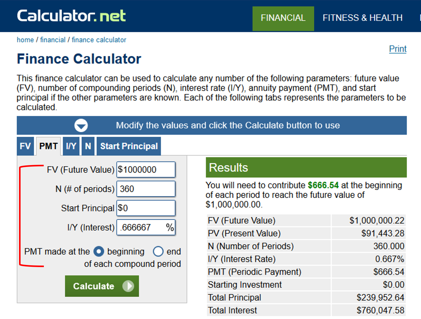 Finance Calculator Inputs