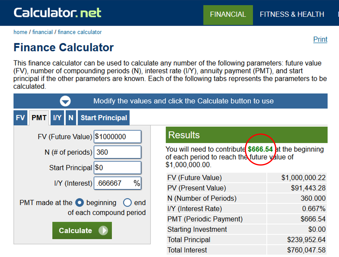 Finance Calculator Output