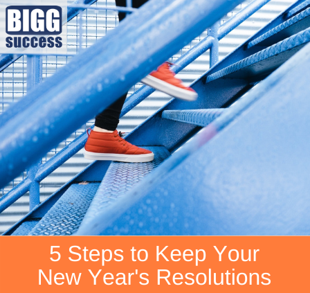 image of person on stairs with the blog title 5 steps to keep your New Year's resolutions