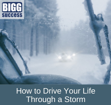 vehicles in snowstorm with blog post title: How to Drive Your Life Through a Storm