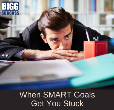 image of person looking exasperated with the blog title When SMART Goals Get You Stuck