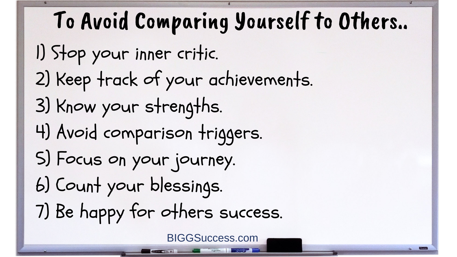 Avoid comparing yourself to others whiteboard