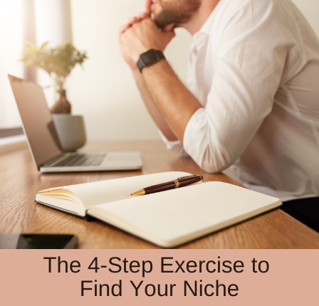 iamge of man with a notebook open and the blog post title The 4-Step Exercise to Find Your Niche