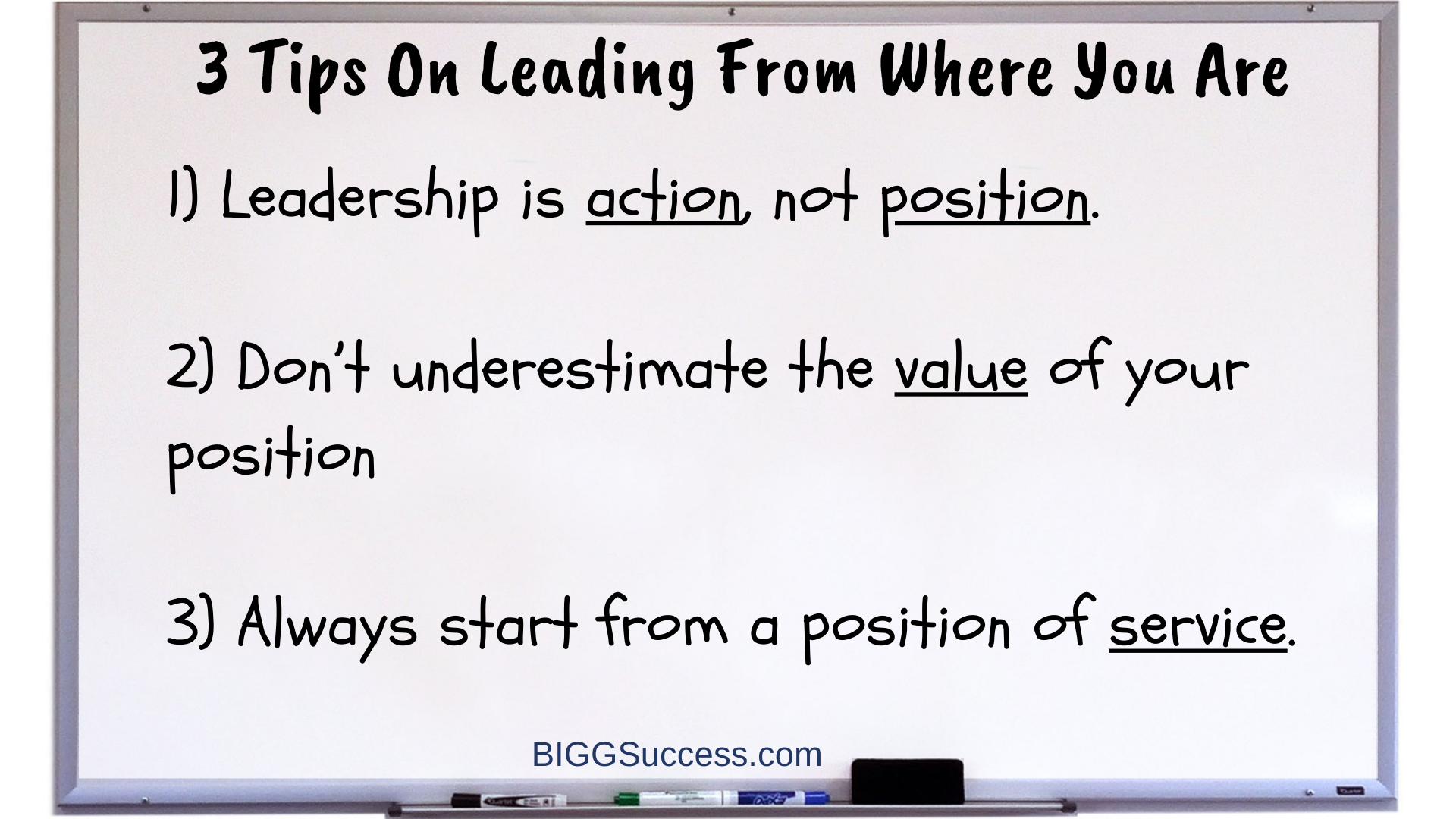 Whiteboard 1059-3 Tips On Leading From Where You Are